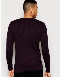 Jack & Jones | Purple Cable Knit Jumper for Men | Lyst