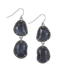 Sam Edelman | Blue Pave Stone Double Drop Earrings | Lyst