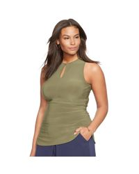 Ralph Lauren - Green Stretch-jersey Keyhole Top - Lyst