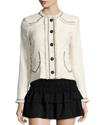 Étoile Isabel Marant - White Ferris Fringed Linen Button Jacket - Lyst