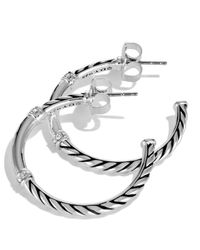 David Yurman | Metallic Metro Small Hoop Earrings With Diamonds | Lyst