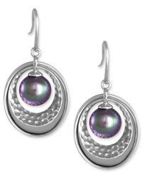 Majorica - Metallic Sterling Silver Hammered Circle And Man-Made Pearl Drop Earrings (10Mm) - Lyst