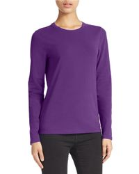 Lord & Taylor - Purple Petite Stretch Cotton Crew Neck Tee - Lyst