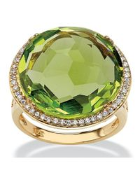 Palmbeach Jewelry - Metallic .27 Tcw Checkerboard-cut Simulated Peridot And Cz Halo Cocktail Ring 14k Gold-plated - Lyst