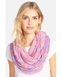 Lauren by Ralph Lauren - Pink 'lily' Plaid Infinity Scarf - Lyst