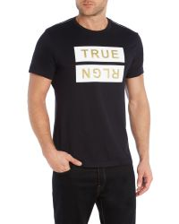 True Religion | Black Regular Fit Flocked Logo T-shirt for Men | Lyst