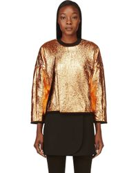 3.1 Phillip Lim - Metallic Black and Copper Coated and Cracked Sweatshirt - Lyst