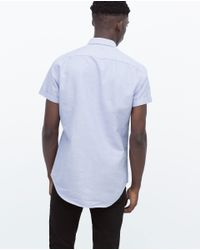 Zara | Blue Shirt With Pocket for Men | Lyst