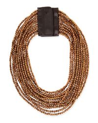Brunello Cucinelli | Brown Beaded Multi-strand Necklace | Lyst