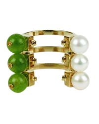Crystalline - Pearl And Green Ring - Lyst
