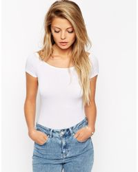 ASOS - White The Off Shoulder Body With Short Sleeves - Lyst