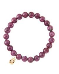 Sydney Evan - Red 8mm Natural Ruby Beaded Bracelet With 14k Yellow Gold/diamond Small Disc Charm (made To Order) - Lyst