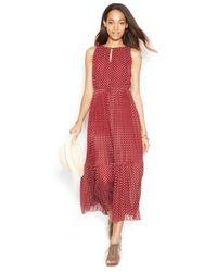 Maison Jules - Red Sleeveless Pleated Printed Midi Dress - Lyst