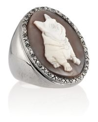 Amedeo - Metallic Rhodiumplated Sardonyx Shell And Diamond Dog Cameo Ring - Lyst