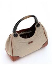 Gucci - Natural Beige Canvas Wood Handle Shoulder Bag - Lyst