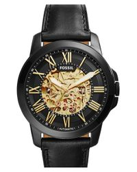 Fossil | Black 'grant' Automatic Leather Strap Watch for Men | Lyst