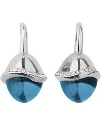Links of London | Infinite Love Blue Topaz 18ct White Gold Pave Set Diamond Earrings | Lyst