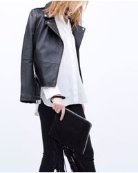 Zara | Black Leather Clutch With Fringes Leather Clutch With Fringes | Lyst