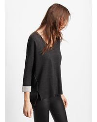 Vince - Black Double Faced V-neck Sweater - Lyst