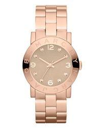 Marc Jacobs - Pink 'amy' Crystal Bracelet Watch - Lyst