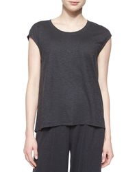 Eileen Fisher | Gray Short-sleeve Hemp Twist Box Top | Lyst