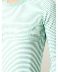 KENZO - Green Striped Cotton-Blend Sweater - Lyst