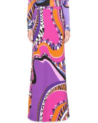 Emilio Pucci | Purple Abstract-print Stretch-crepe Maxi Skirt - For Women | Lyst