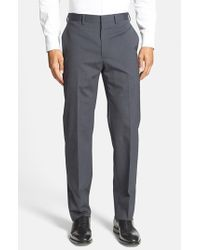 Michael Kors | Blue Flat Front Stretch Wool Trousers for Men | Lyst