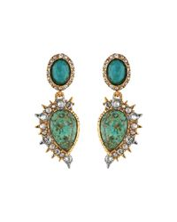 Alexis Bittar - Metallic Crystal Studded Spur Trimmed Dangling Post W/ Rose Cut Chrysocolla Earrings - Lyst
