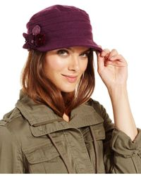 Nine West | Purple Pleated Worker Cap With Flower | Lyst