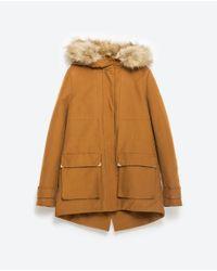 Zara   Orange Parka With Hood   Lyst
