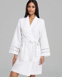 Oscar de la Renta - White Oasis Spa Waffle Short Robe - Lyst