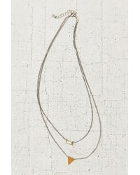 Urban Outfitters | Metallic Stone + Triangle High/low Necklace | Lyst