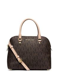 MICHAEL Michael Kors - Brown 'medium Cindy' Dome Satchel - Lyst