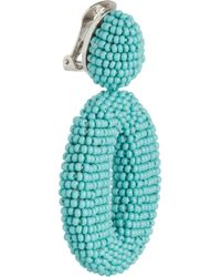 Oscar de la Renta | Blue Beaded Clip Earrings | Lyst
