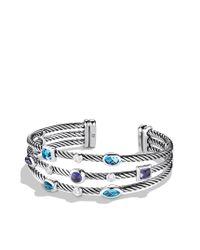 David Yurman - Confetti Threerow Cuff with Blue Topaz Iolite and Diamonds - Lyst