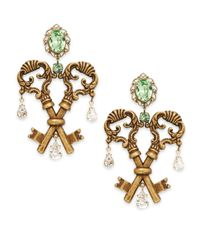 Dolce & Gabbana | Metallic Glitz Crossing Key Drop Clip Earrings/goldtone | Lyst