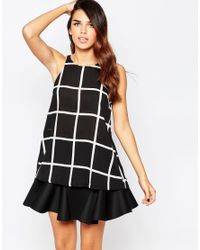 AX Paris | Black Split Back Top In Grid Print | Lyst