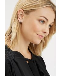 Oasis - White Pave Teardrop Front To Back Earring - Lyst