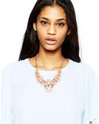 Lipsy - Orange Statement Opaque Flower Collar Necklace - Lyst