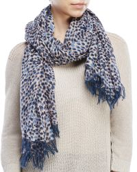 Chloé | Blue Chlo㉠Printed Cashmere Woven Scarf | Lyst