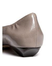 Lanvin - Gray Trapezoid Heel Leather Flats - Lyst