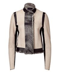 Narciso Rodriguez | Natural Black And Nude Persian Lamb Jacket | Lyst