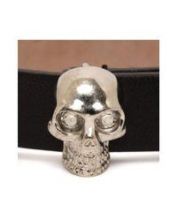 Alexander McQueen | Black Studded Leather Wrap Skull Bracelet | Lyst