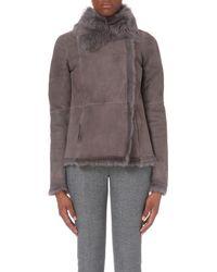 JOSEPH | Gray Anais Toscana Sheepskin Jacket | Lyst