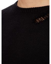 Saint Laurent - Black Distressed Cotton-blend Sweater for Men - Lyst