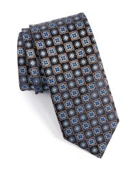 Canali - Black Floral Medallion Silk Tie for Men - Lyst