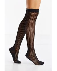 Urban Outfitters | Black Crochet Double Cuff Over-the-knee Sock | Lyst