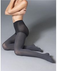 Hue | Gray Super Opaque Control Top Tights | Lyst