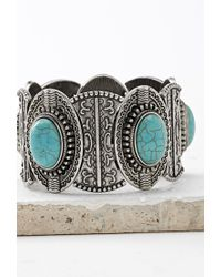 Forever 21 | Metallic Etched Faux Turquoise Bracelet | Lyst